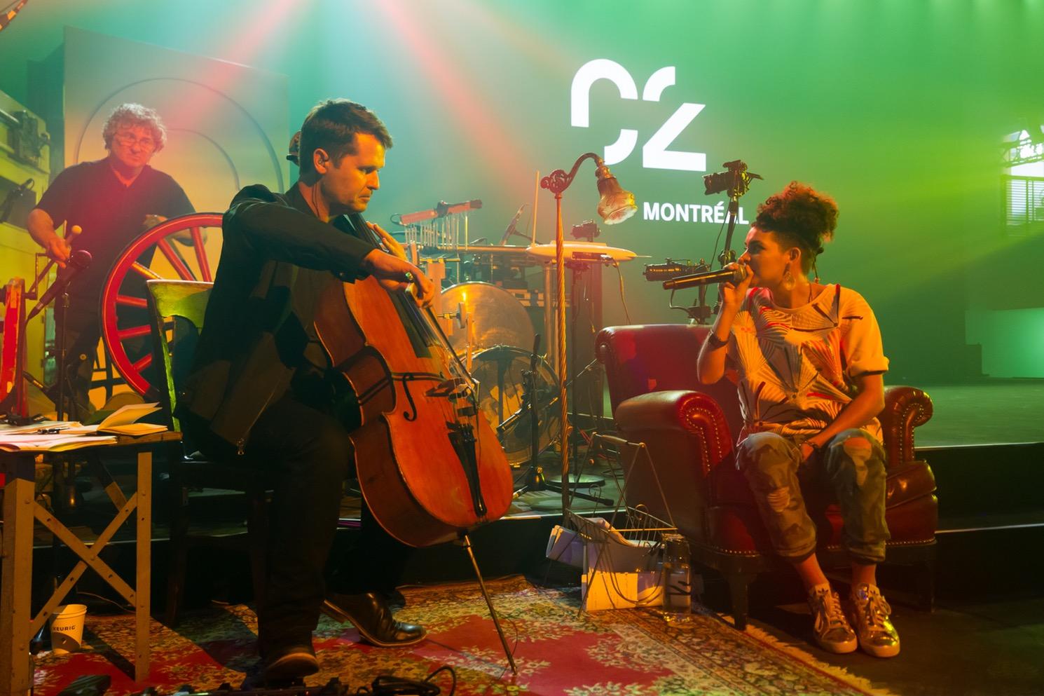 Les musiciens en résidence de la scène principale de C2 Montréal 2016: Alain Collin + Philip Sheppard + Fab