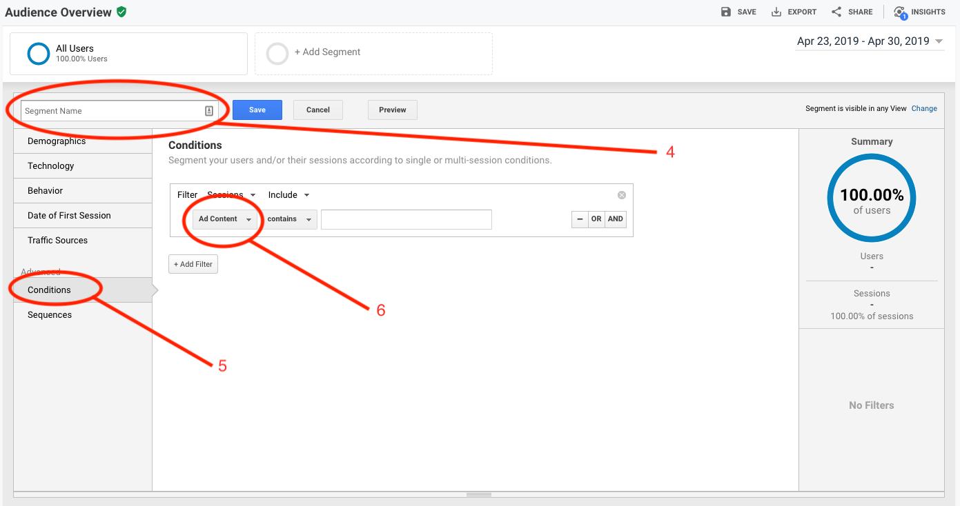 Naming a Google Analytics segment