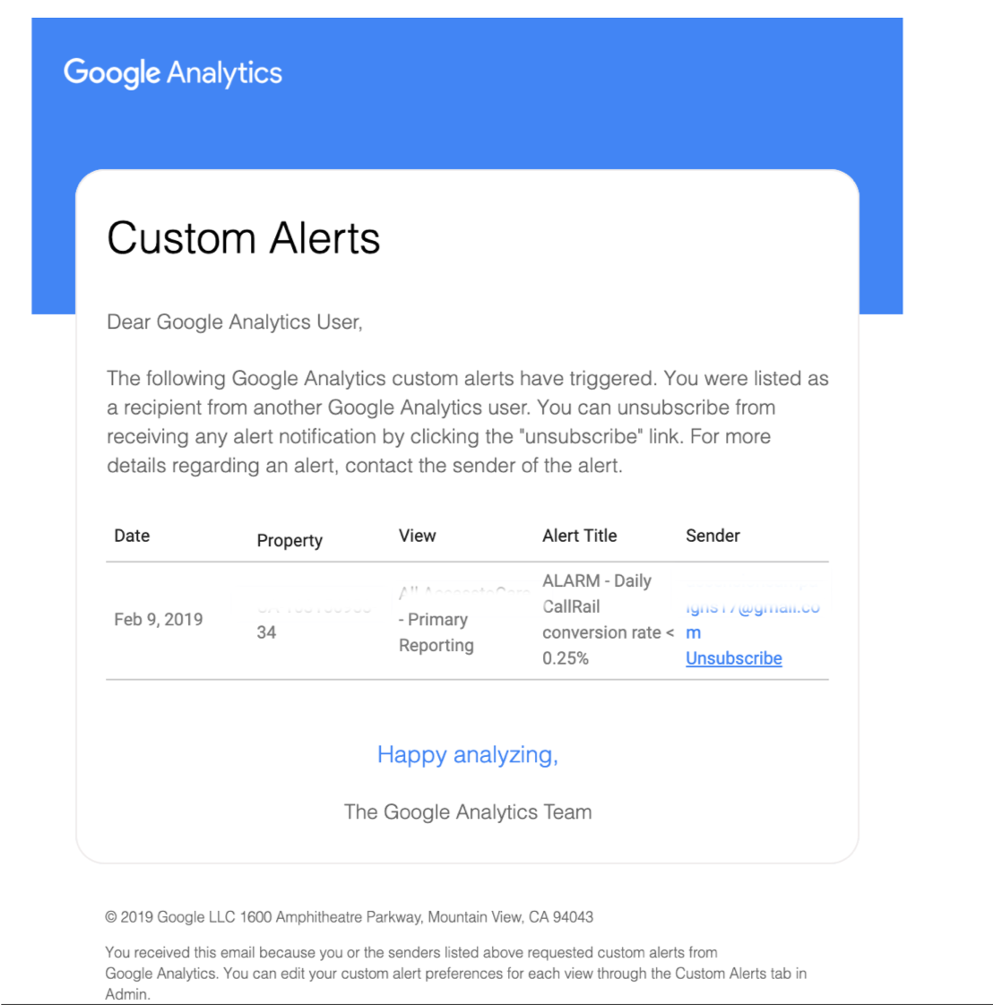 Google Analytics custom alert email example