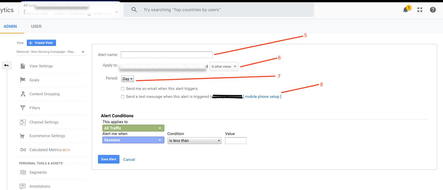 Google Analytics custom alert settings