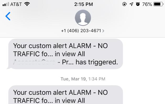 Google Analytics Custom Alert Text Alert example