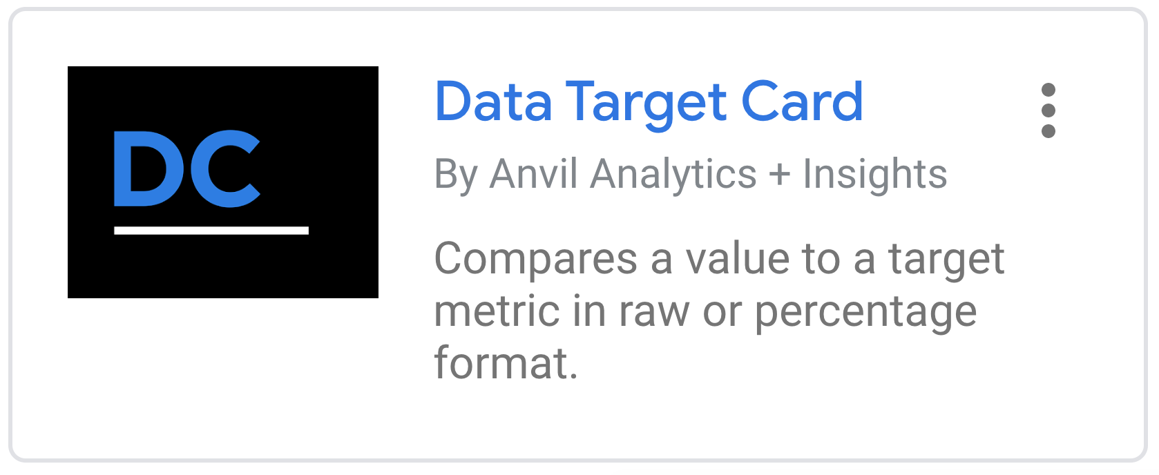 Google Data Studio Data Target Card by Anvil Analytics + Insights