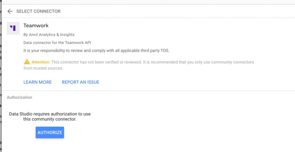 authorize in data studio