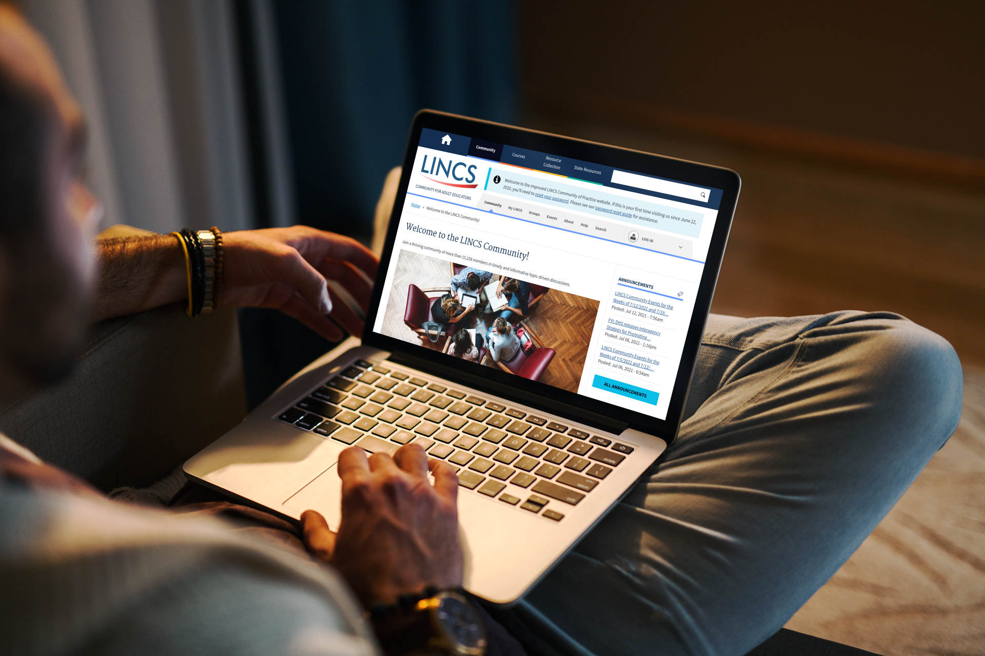 Education practitioner using the LINCS community portal on a laptop