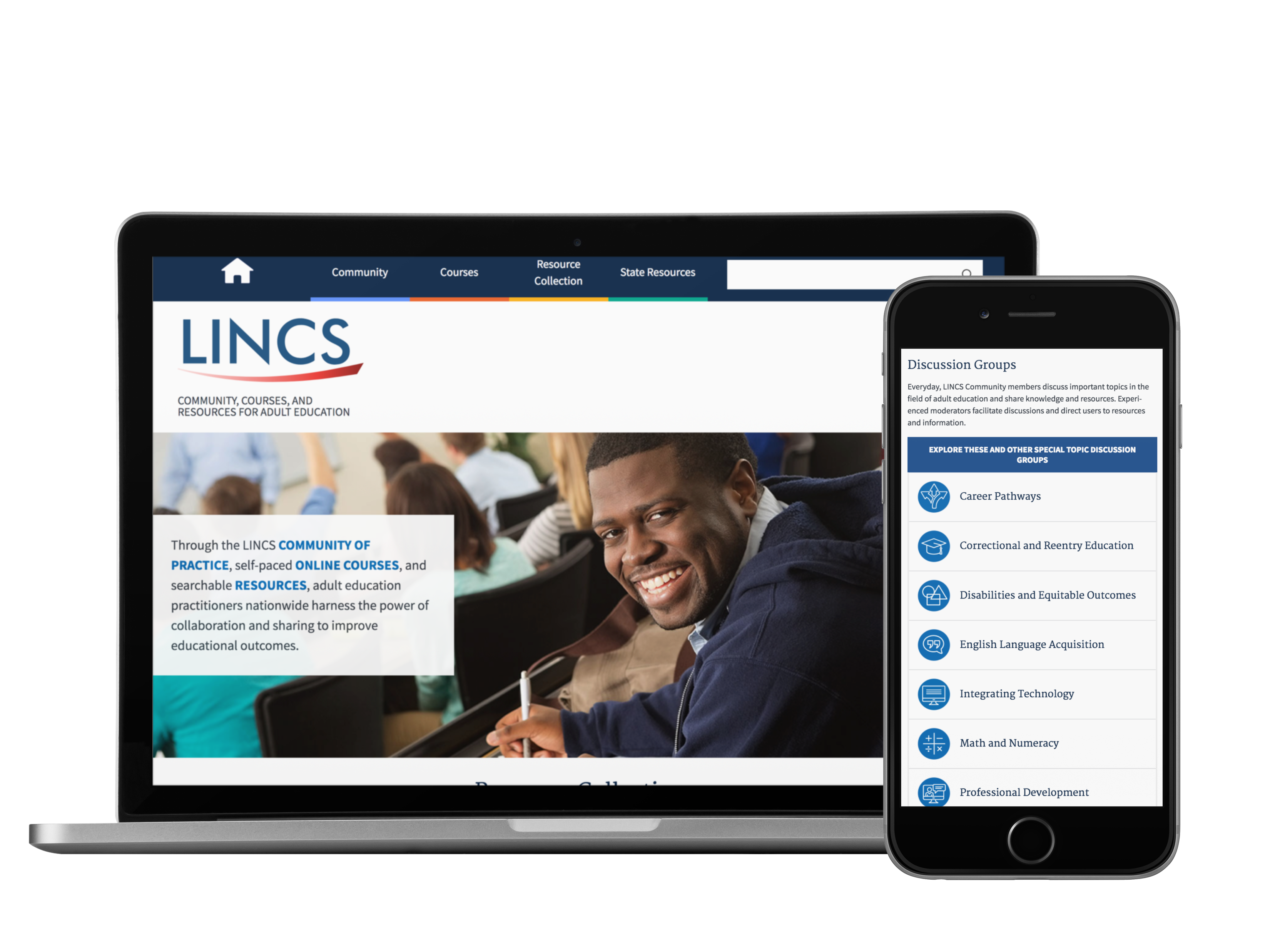 Modernized LINCS homepage displayed on laptop and mobile