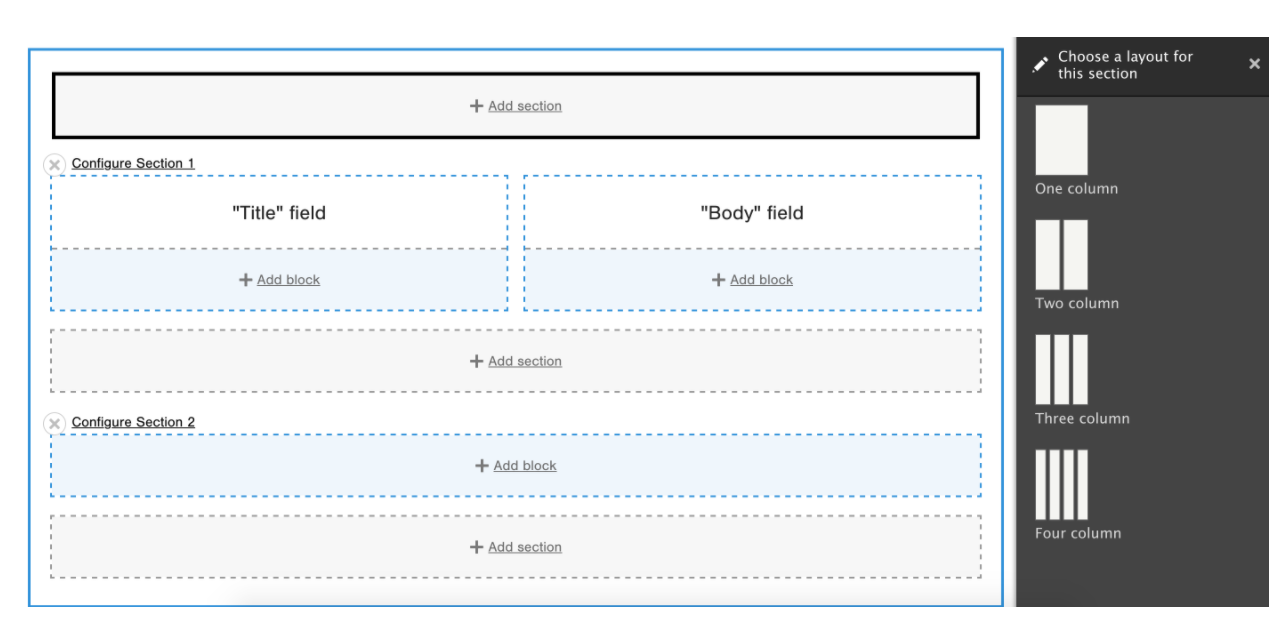 Screenshot of the Layout Builder module in Drupal, showing how content editors can drag-and-drop sections.