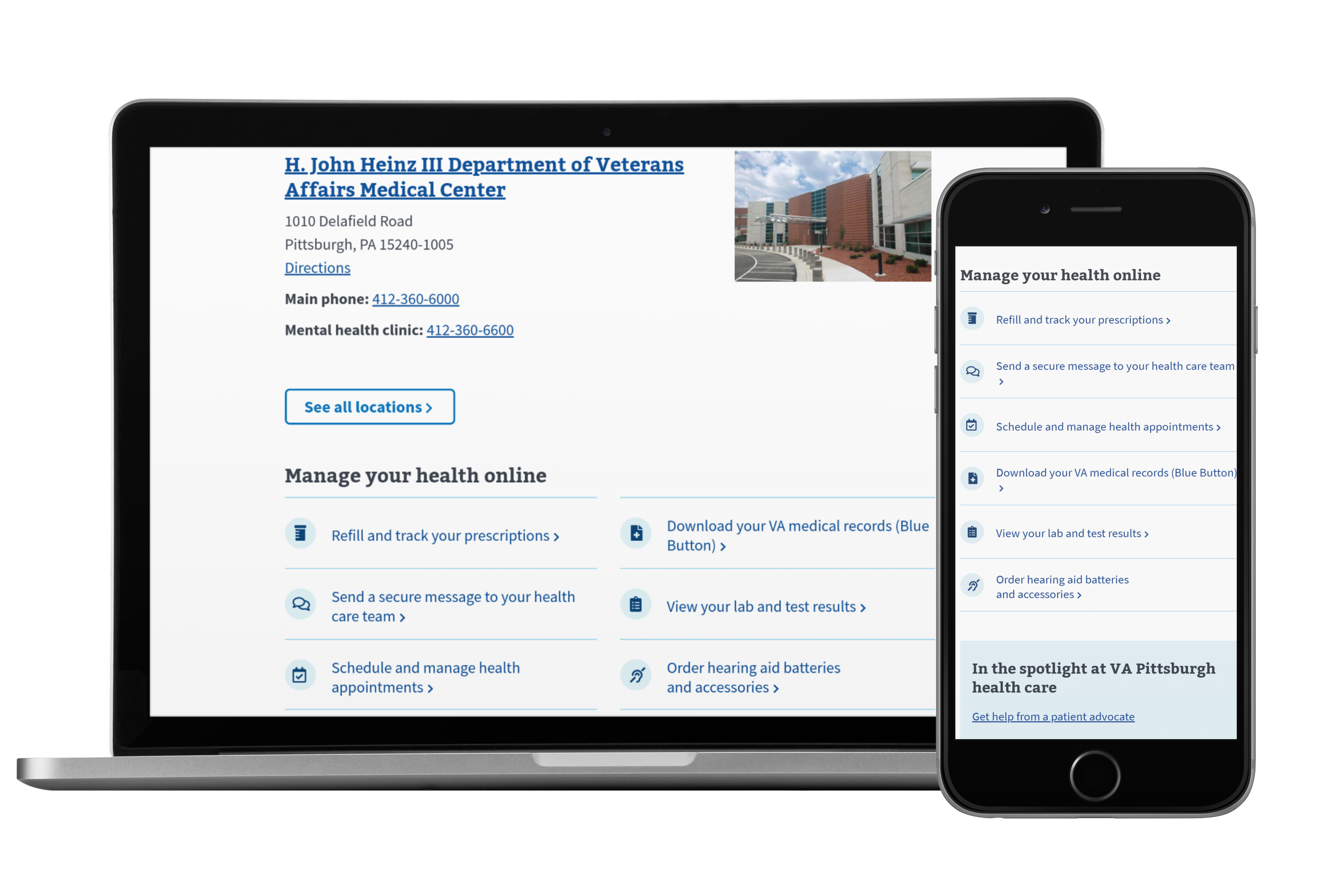 The redesigned VA medical center website displayed on a laptop and a mobile device