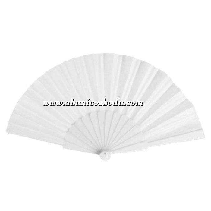 Imagen Abanico Económicos Abanico de tela Blanco (con varillas de plástico)