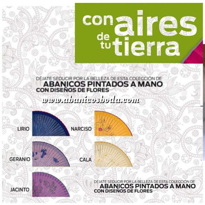 Imagen Abanico de Flores Abanico Liso 23 cm Pintado Flores MODELOS SURTIDOS