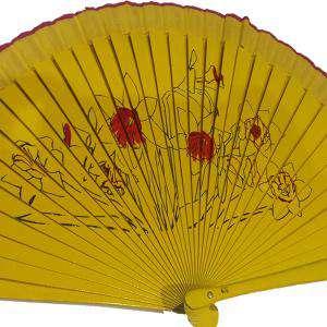 Imagen Abanico de Flores Abanicos Lisos 23 cm pintado flores NARCISO (Últimas Unidades)