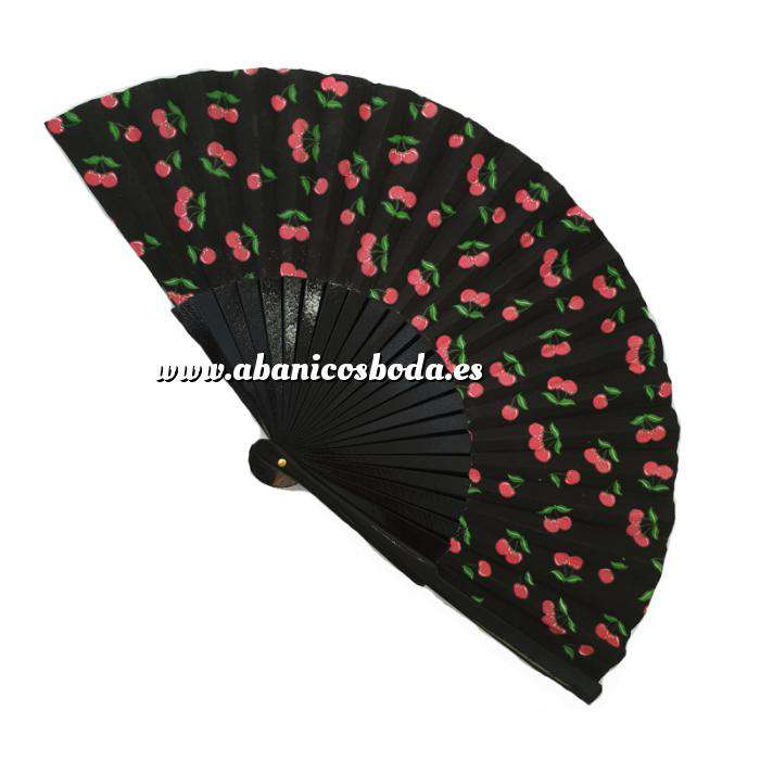 Imagen Abanico de Frutas Abanico de frutas - Modelo Negro con estampado de Cerezas (Últimas Unidades)