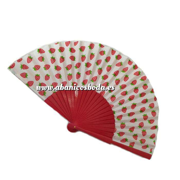 Imagen Abanico de Frutas Abanico de frutas - Modelo Rojo con tela blanca y estampado de Fresas (Últimas Unidades)