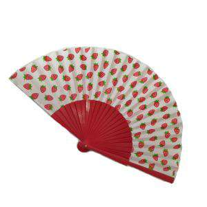Abanico de Frutas - Abanico de frutas - Modelo Rojo con tela blanca y estampado de Fresas (Últimas Unidades)