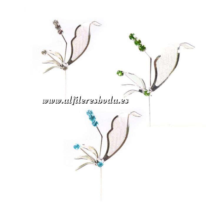 Imagen Alfileres especiales Alfiler Especial 54 (alfiler libélula) - COLORES DE PIEDRAS SURTIDOS (BLANCO más AZUL más VERDE) (Últimas Unidades)