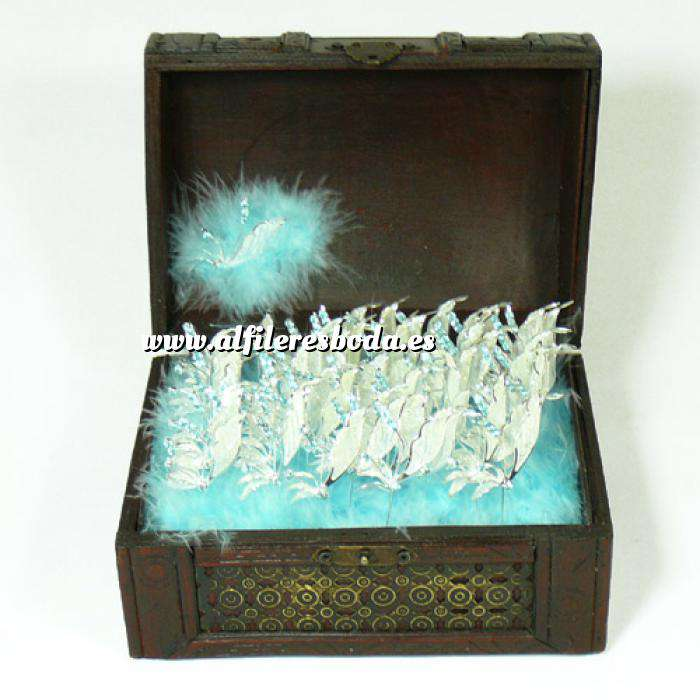 Presentaciónes elegantes de alfileres de boda alfiler libelula azul en cofre grande