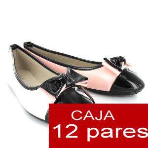 Alta Calidad - Manoletinas Charol con lazo ROSA - Caja 12 pares (Últimas Unidades)