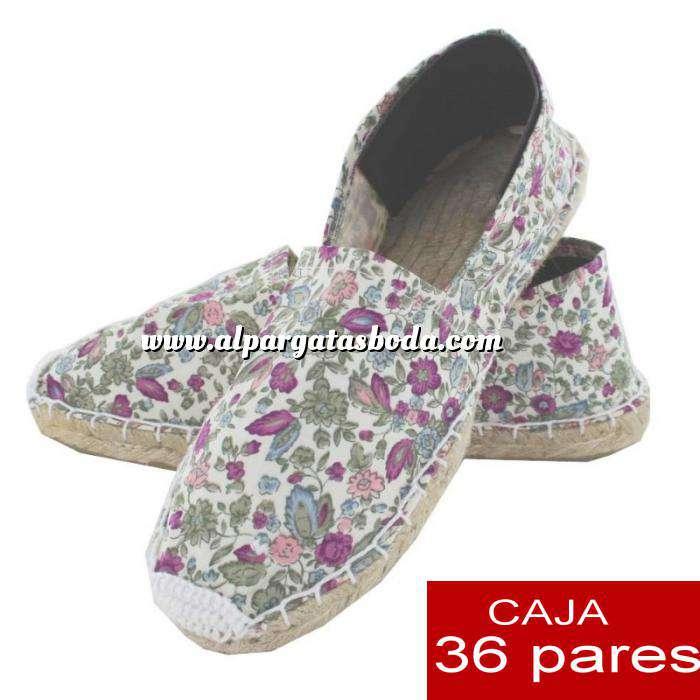 Imagen Cerradas mujer Alpargatas cerradas Florecitas rosas - Caja 36 pares (Últimas Unidades)