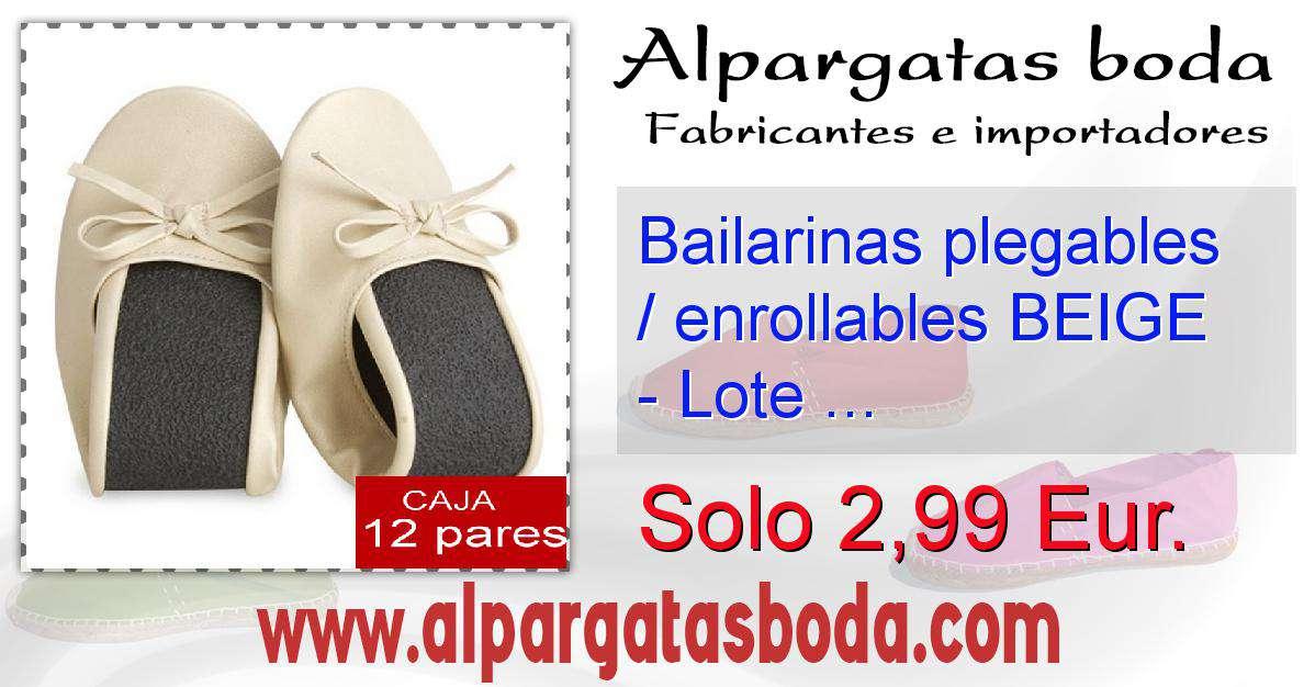 d414a5d672a Bailarinas plegables   enrollables BEIGE - Lote de 12 pares ...