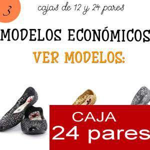 Imagen Modelos Economicos Manoletinas BLANCAS con reborde fucsia atadas al tobillo Caja de 24 pares (Últimas Unidades)