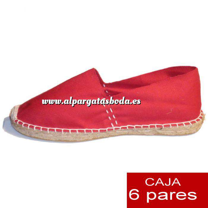 Imagen Talla 39 Alpargatas cerradas Talla 39 rojo- 6 pares - Entrega 15 días