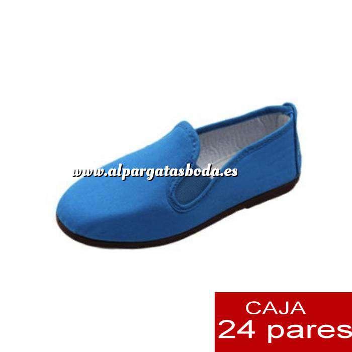 Imagen Zapatillas de Tela (Kung fu) Manoletinas Zapatillas de TELA AZUL Lote de 24 pares (Últimas Unidades)