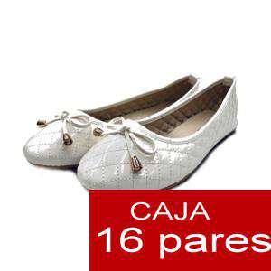 Alta Calidad - Manoletinas ACOLCHADAS color BLANCO - Caja 16 pares (Últimas Unidades)