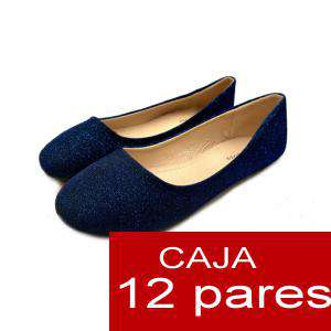 Alta Calidad - Manoletinas AZUL BRILLI- Caja 16 pares (Últimas Unidades)