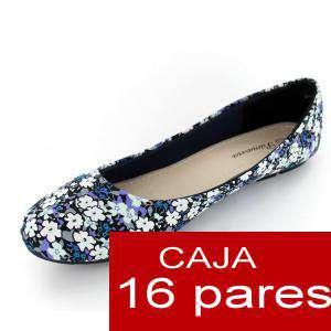 Alta Calidad - Manoletinas Flores Azules - Caja de 16 pares (Últimas Unidades)