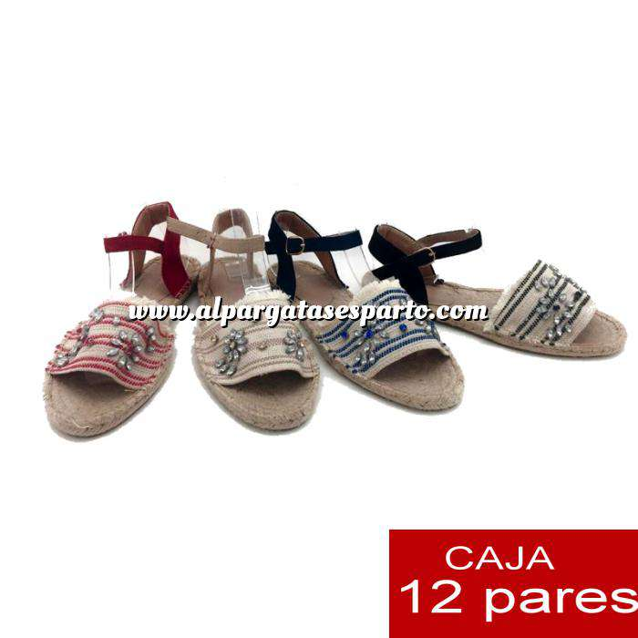 Imagen Alta Calidad Sandalias Étnicas con piedrecitas - AZUL (Caja de 12 pares) (Últimas Unidades)