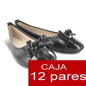 Alta Calidad - Manoletinas Charol con lazo NEGRO - Caja 12 pares (Últimas Unidades)