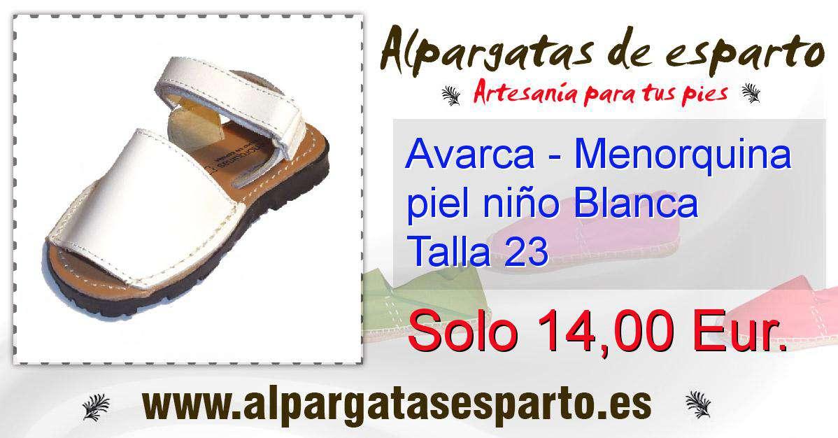 Niño E9di2h 23 Piel Avarca Talla Menorquina Blanca BeQdWrxoC