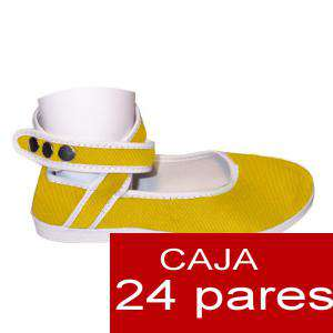 Modelos para Niños - Manoletinas NIÑO-NIÑA AMARILLO atadas al tobillo Caja de 24 pares (Últimas Unidades)