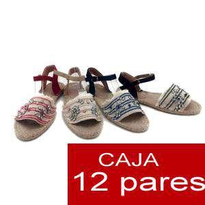 Alta Calidad - Sandalias Étnicas con piedrecitas - ROJO (Caja de 12 pares) (Últimas Unidades)