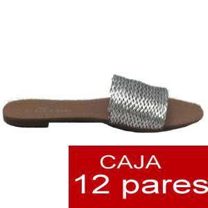 Alta Calidad - Sandalias planas Plateadas Trenzadas - Caja de 12 pares (Últimas Unidades)