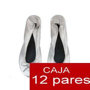 Enrollables/Plegables - Bailarinas Enrollables Modelo ESPECIAL - PLATA - Lote de 12 pares (OFERTA INVIERNO)