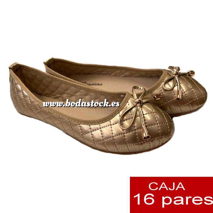 Imagen Alta Calidad Manoletinas ACOLCHADAS color DORADO - Caja 16 pares (Últimas Unidades)