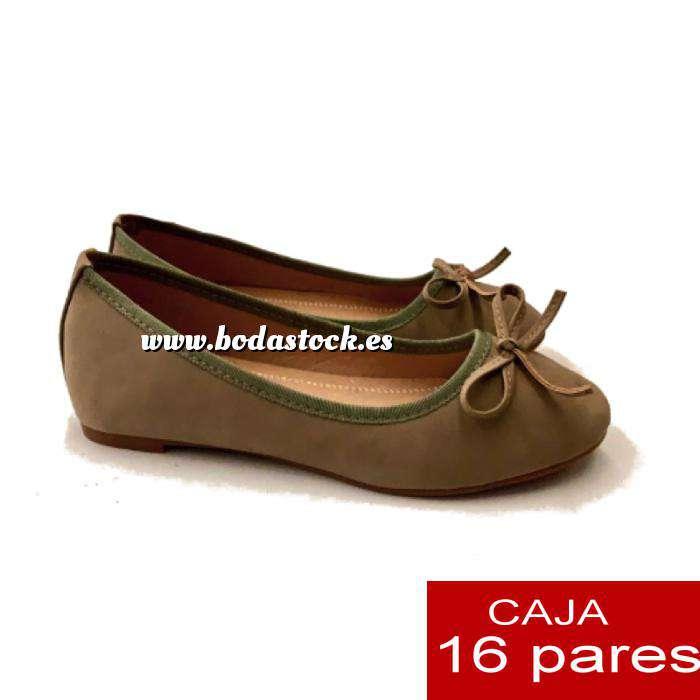 Imagen Alta Calidad Manoletinas KAKI con lazo - Caja 16 pares (Últimas Unidades)