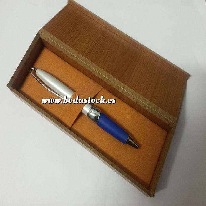 Imagen Boligrafos Boligrafo Blanco y Azul en caja de madera (Últimas Unidades)