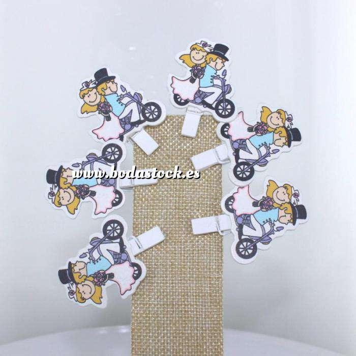 Imagen Detalles para la ceremonia Pinzas decorativas Novios en moto - pack de 6 uds - ULTIMAS UDS (Últimas Unidades)