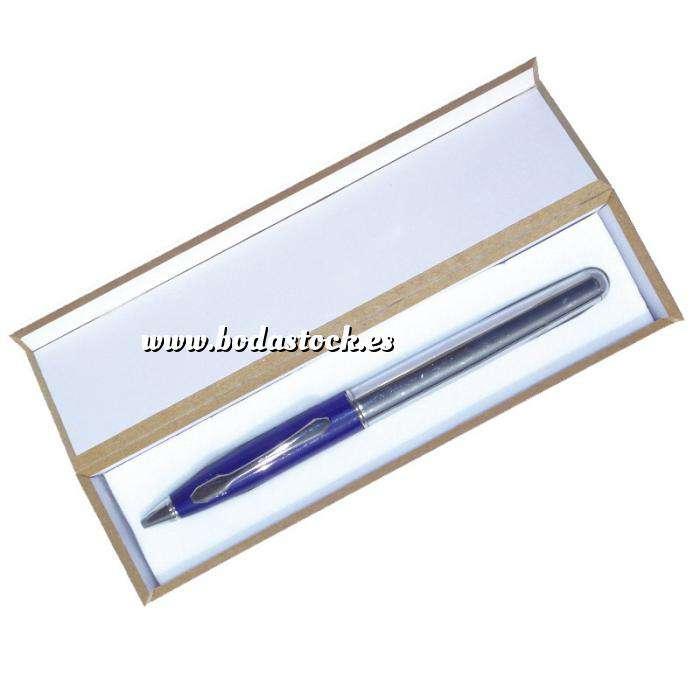 Imagen Prácticos mujer Bolígrafo invertido Azul/Plata en caja de madera azul (Últimas Unidades)