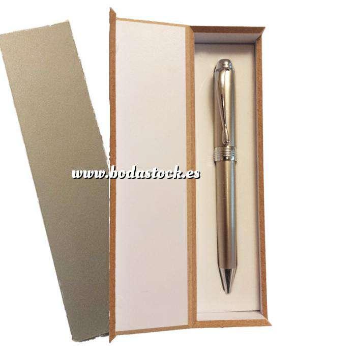 Imagen Prácticos mujer Bolígrafo plateado Mod. 1 en caja de madera gris (Últimas Unidades)