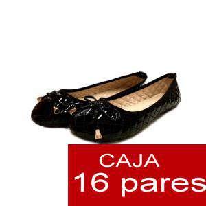 Alta Calidad - Manoletinas ACOLCHADAS color NEGRO - Caja 16 pares (Últimas Unidades)