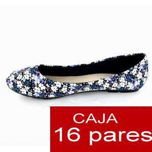Imagen Alta Calidad Manoletinas Flores Azules - Caja de 16 pares (Últimas Unidades)