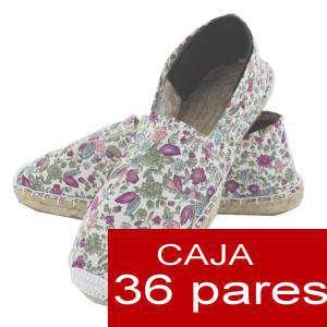 Cerradas mujer - Alpargatas cerradas Florecitas rosas - Caja 36 pares (Últimas Unidades)