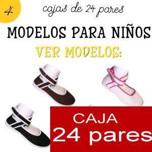 Imagen Modelos para Niños Manoletinas NIÑO-NIÑA NEGRAS atadas al tobillo Caja de 24 pares (Últimas Unidades)