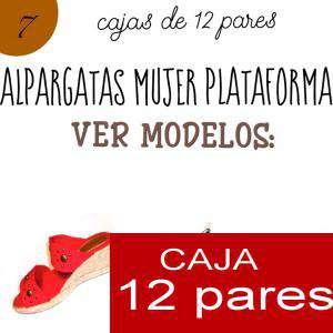Imagen Mujer Plataforma o Tacón Alpargatas plataforma Modelo 3 - Caja de 12 pares (Ref. A6002 CUERO) (Últimas Unidades)