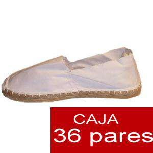 Para Hombres - Alpargatas cerradas HOMBRE color Blanco Tallaje 40-46 caja 36 pares (Últimas unidades)
