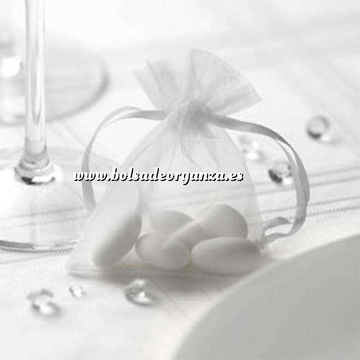Imagen Tamaño 07x09 cms Bolsa de organza Blanca 7x9 - capacidad 7x7.5 cms.