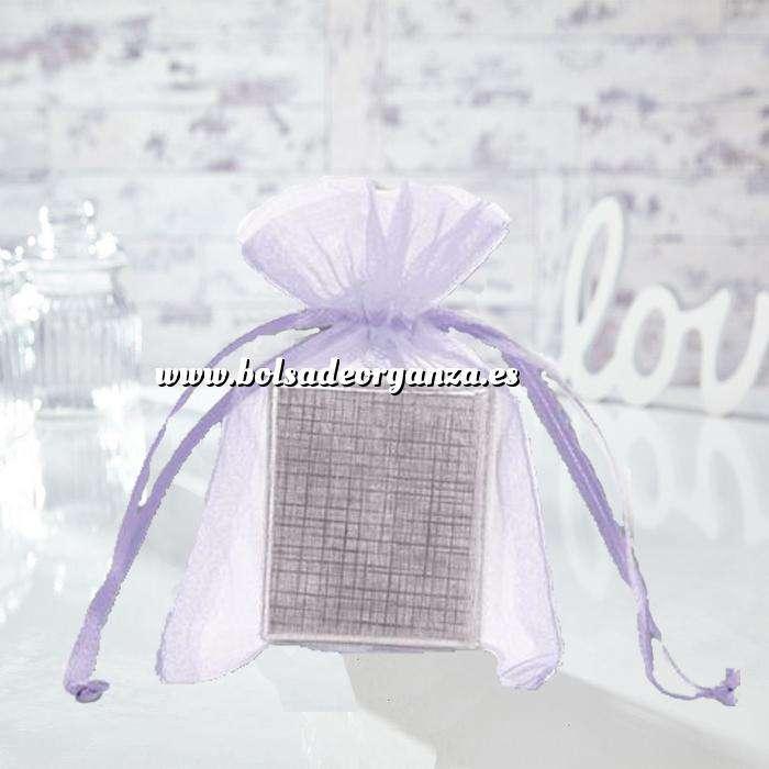 Imagen Tamaño 10x15 cms. Bolsa de organza Lila 10x15 capacidad 10x12 cms.