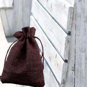 Bolsas de Yute 10x14 cm - Bolsa de Yute Marrón Chocolate 10x14 capacidad 9x11 cms.